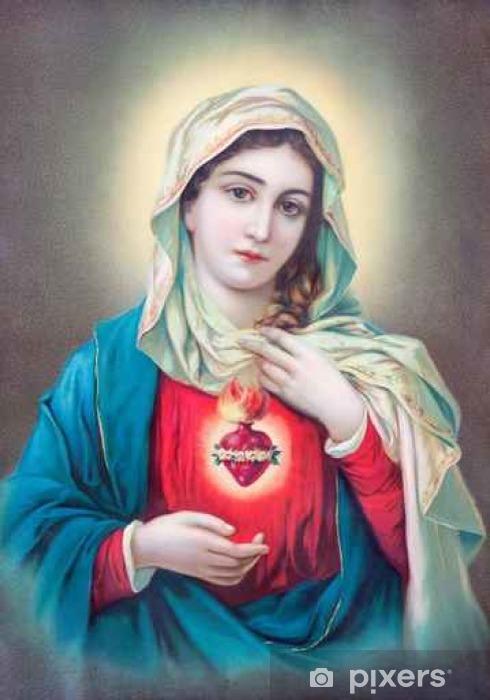 Vinyl-Fototapete Typische katholische Bild des Herzens der Jungfrau Maria aus der Slowakei - Gebäude und Architektur