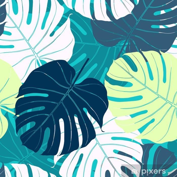 Autocolante para Janelas e Vidros Seamless com folhas de palmeira - Plantas e Flores