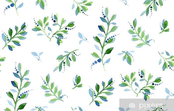 Pixerstick Sticker Naadloze aquarel bloemmotief - Bloemen en Planten