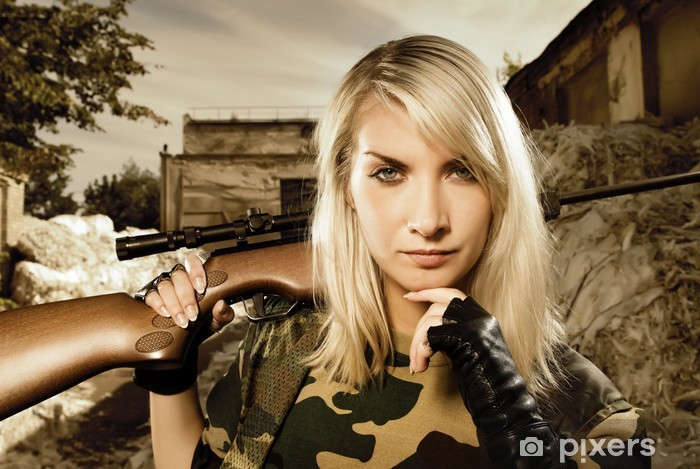 Beautiful woman soldier with a sniper rifle Pixerstick Sticker - Professions