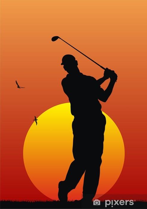 Naklejka Pixerstick Streszczenie ilustracji wektorowych z golfistą - Sporty indywidualne