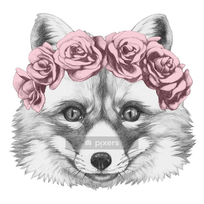Original drawing of Fox with floral head wreath. Isolated on white background. Wall Decal - iStaging