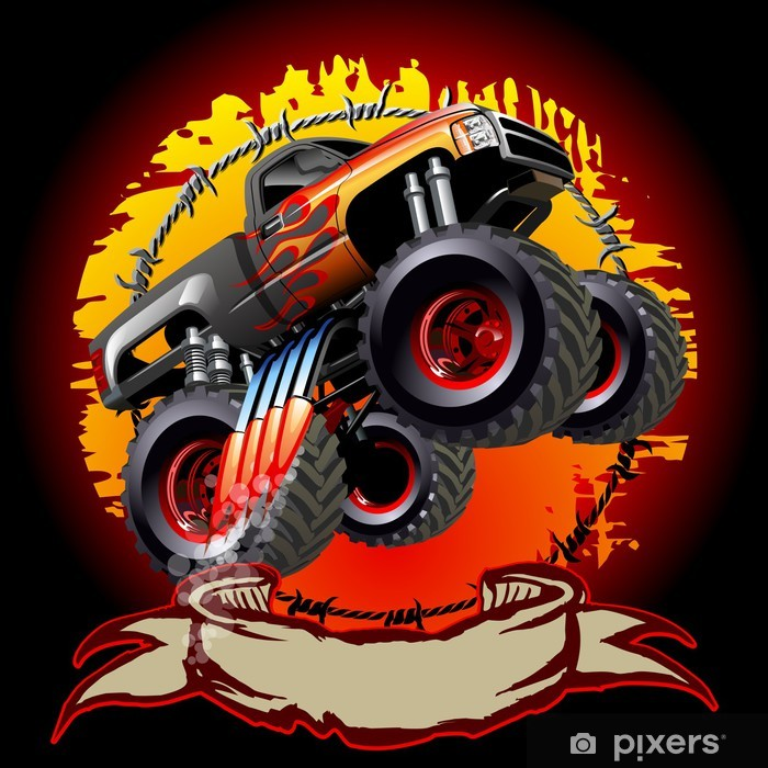 Cartoon Monster Truck Vinyl Wall Mural - On the Road