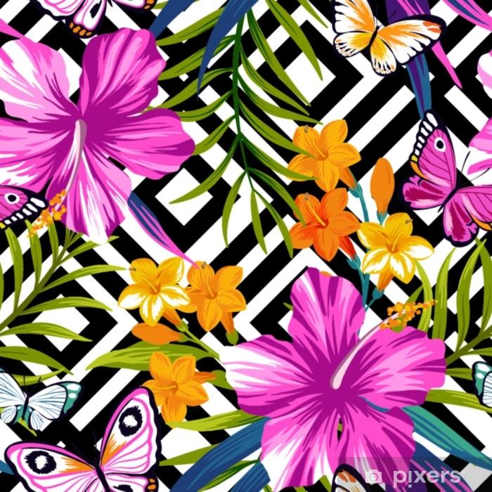 Sticker Pixerstick Modèle sans couture florale tropicale avec des papillons. feuilles d'hibiscus et de palmiers sur fond géométrique - Plantes et fleurs