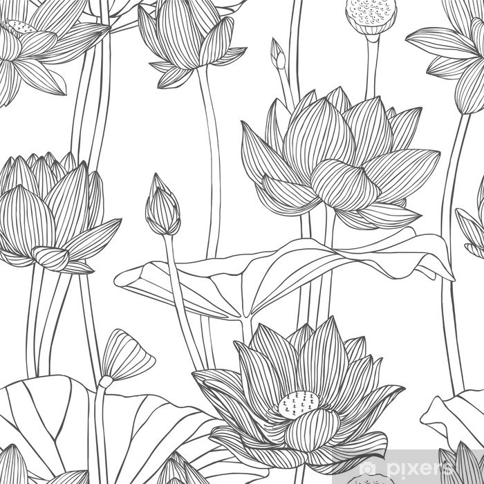 Linear seamless pattern - lotus flower. Poster - Relaxation
