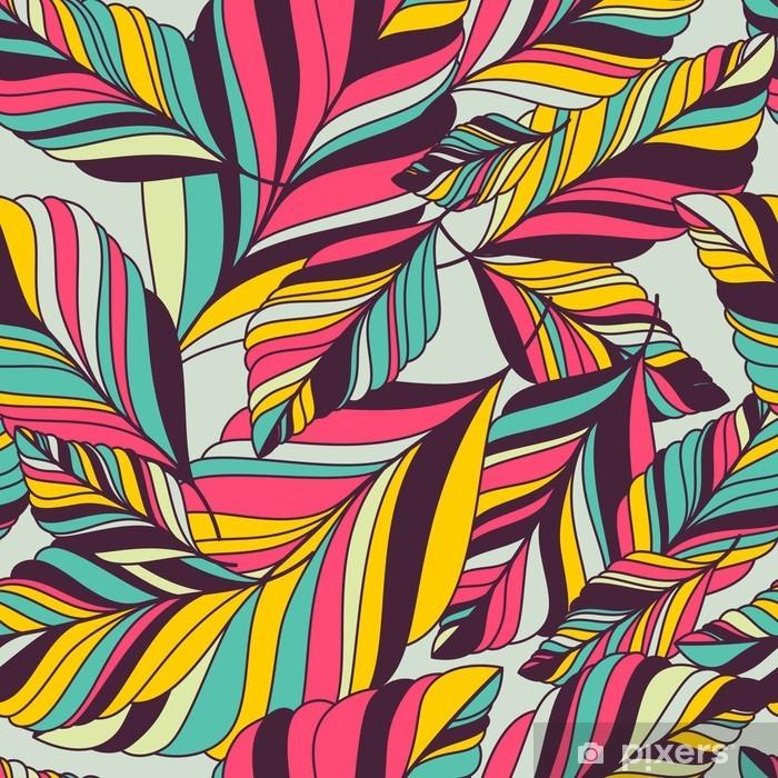Pixerstick Sticker Vector naadloze patroon met multicolor hand getrokken decoratieve le - Herfst