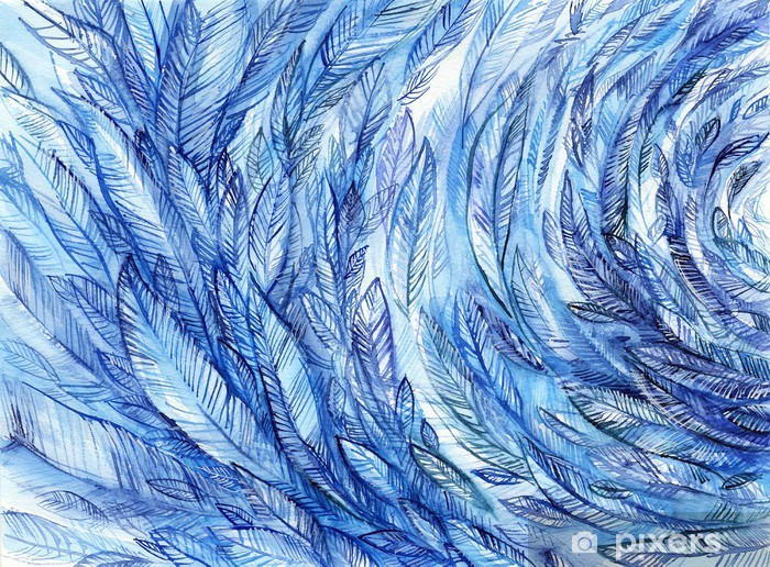 Naklejka Pixerstick blue feathers in a circle, watercolor abstract background - Tekstury