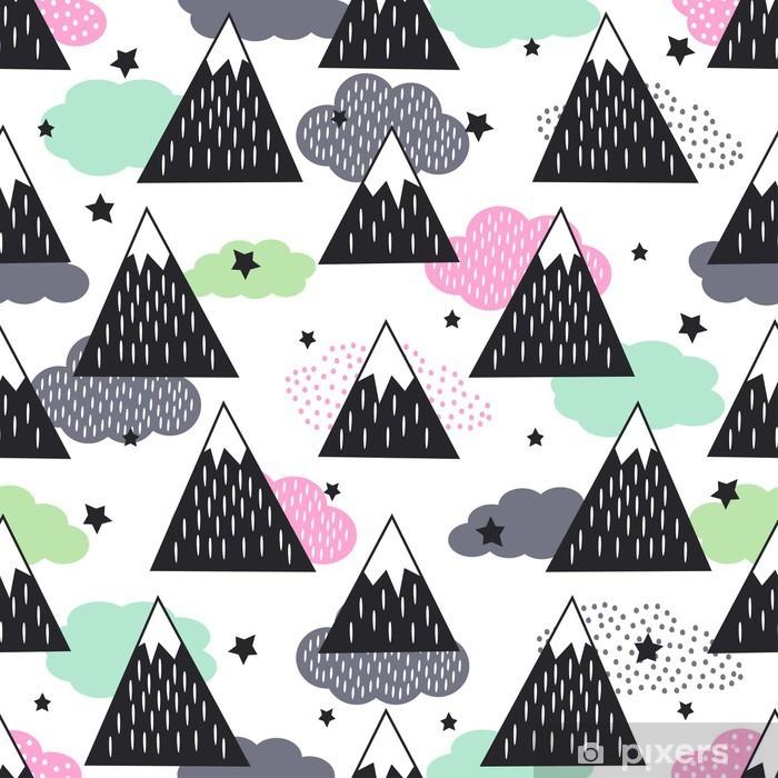 Vinyl Fotobehang Naadloos patroon met geometrische besneeuwde bergen, wolken en sterren. Grafische aardillustratie. Abstracte bergen achtergrond. - Landschappen