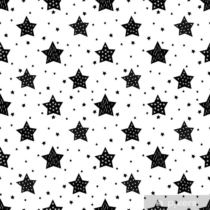 Seamless black and white pattern with cute stars for kids. Baby shower vector background. Child drawing style xmas pattern. Pixerstick Sticker - Landscapes