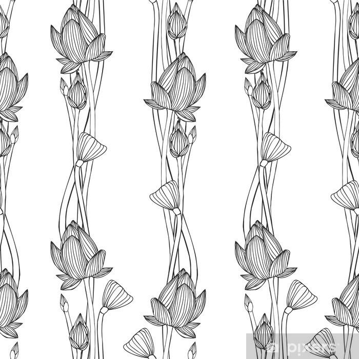 Naklejka Pixerstick Kwiatów paski pionowe. Liniowy szwu - kwiat lotosu. - Relaks