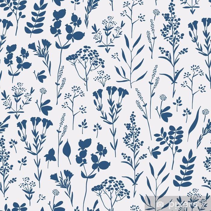 Fototapeta winylowa Rysowane ręcznie bez szwu kwiatowy wzór z ziołami - Zasoby graficzne
