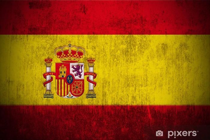 Fototapeta winylowa Wyblakły banderą Hiszpanii, tkaniny teksturowane -