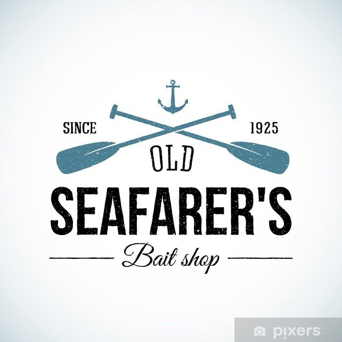 Sticker Pixerstick Old Seafarers Bait Shop Vintage Vector Logo Template avec Shabby - Signes et symboles