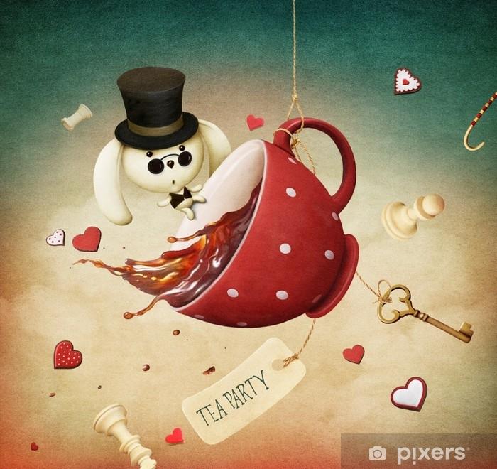 Alfombrilla de baño Ilustración de fantasía con taza de té rojo y conejo - Recursos gráficos