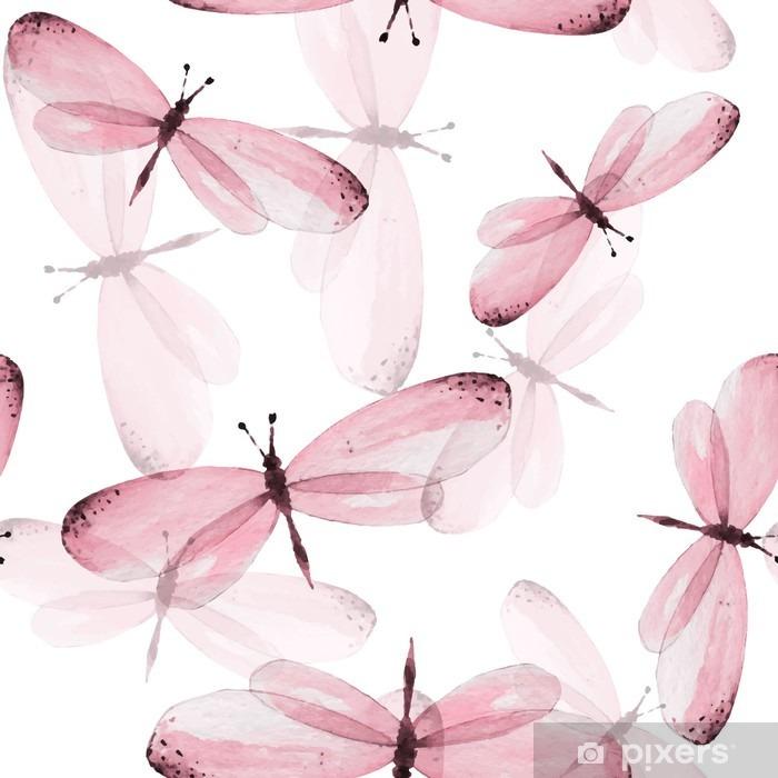 Papier peint vinyle Le motif de papillons. Seamless vecteur. Aquarelle Illustration 10 - Animaux