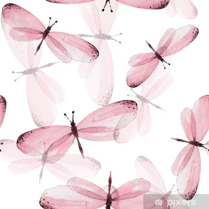The pattern of butterflies. Seamless vector background. Watercolor illustration 10 Vinyl Wall Mural - Animals
