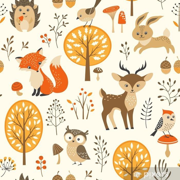 Vinyl Fotobehang Herfst bos naadloze patroon met schattige dieren - Kinderkamer
