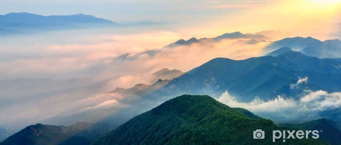 Foggy landscape in the mountains. Pixerstick Sticker - Mountains