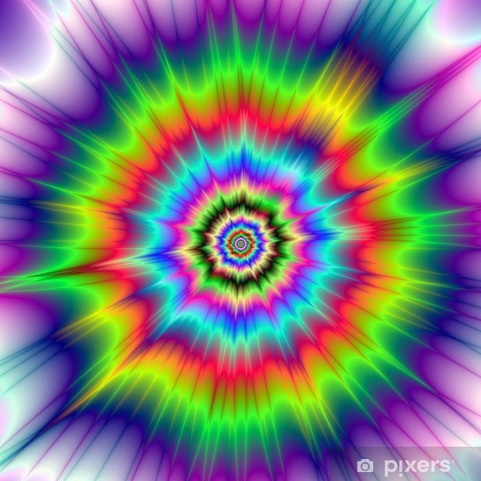 Poster Psychedelic esplosioni di colore / A astratta immagine frattale digitale con un disegno esplosione psichedelica colorato in rosso, verde, blu, viola e giallo. - Sfondi