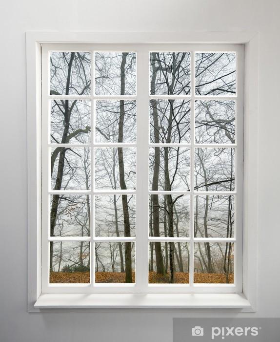 Fototapeta winylowa Nowoczesne mieszkalny okno z widokiem lasu jesienią - Inne