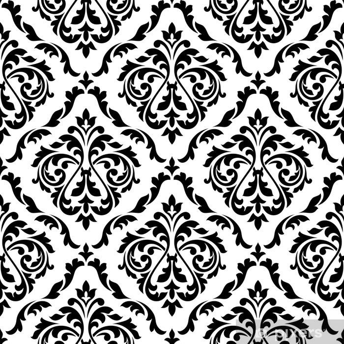 Naklejka Pixerstick Adamaszek czarno-biały kwiatowy szwu - Tła