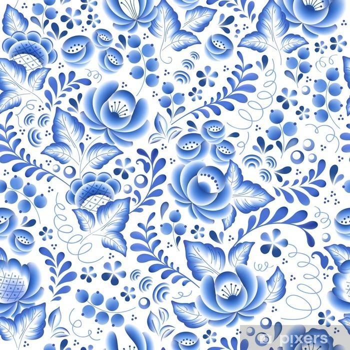 Fotomural Estándar Flores de color azul de flores de porcelana ruso ornamento hermoso popular. - Hobbies y entretenimiento