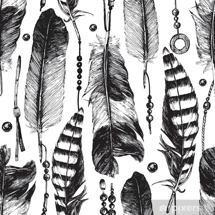 Adesivo Pixerstick Seamless con piume disegnate a mano - Animali