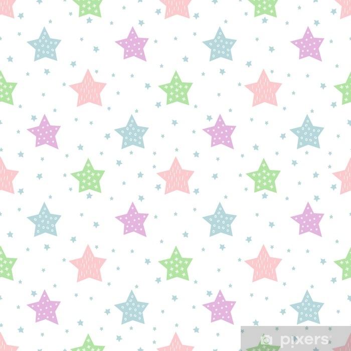 Fotomural Estándar Patrón de estrellas sin fisuras para las vacaciones de los niños. colores pastel fondo de vector de ducha de bebé. lindo niño dibujo estilo estrella cielo ilustración. - Recursos gráficos