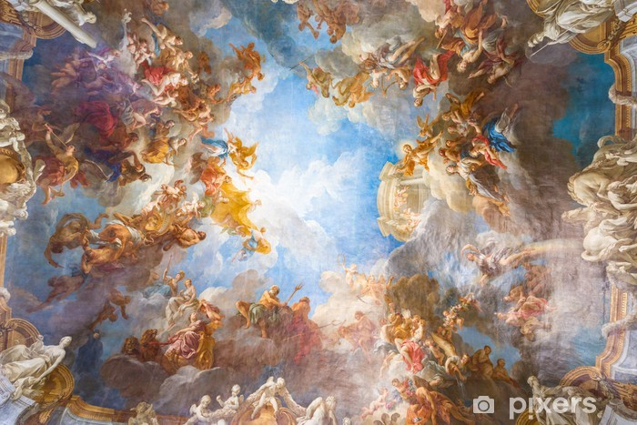 Afwasbaar Fotobehang Plafondschildering van Palace Versailles in de buurt van Parijs, Frankrijk - Monumenten