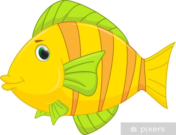 Vinilo Pixerstick Cute Dibujos Animados De Pescado