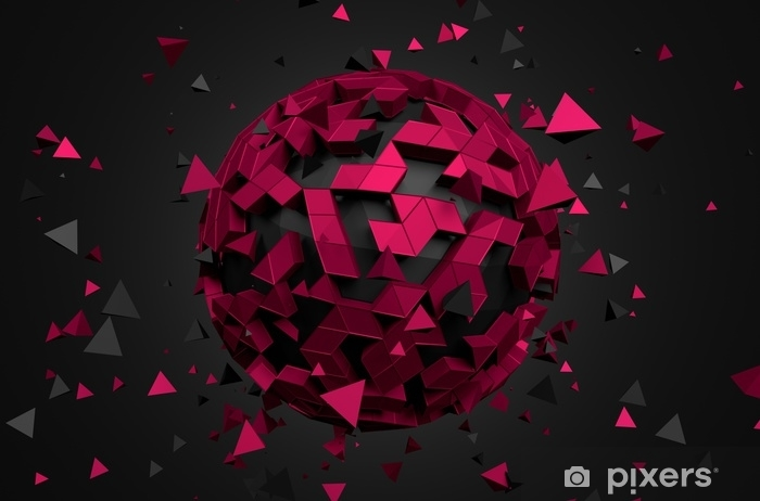 Abstract 3D Rendering of Low Poly Sphere. Pixerstick Sticker - Graphic Resources