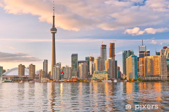 The reflection of Toronto skyline at dusk in Ontario, Canada. Pixerstick Sticker - America