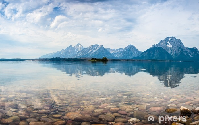 Mountain top reflections on the lake Self-Adhesive Wall Mural - Mountains