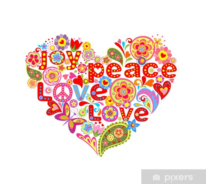 Print with colorful hippie floral heart Vinyl Wall Mural - Greeting Cards