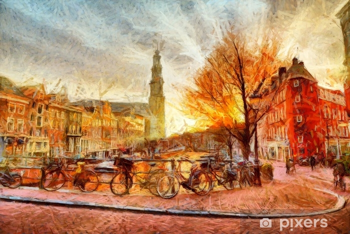 Amsterdam canal at evening impressionistic painting Vinyl Wall Mural - Landscapes