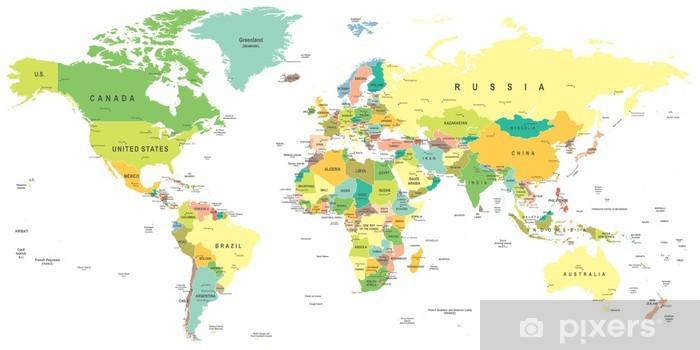 Fototapeta winylowa Mapa świata - bardzo szczegółowe ilustracji wektorowych. - Tematy