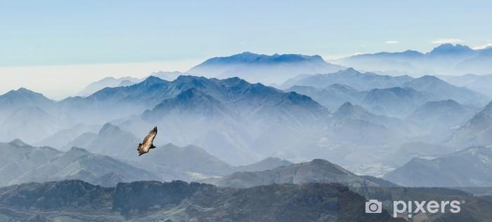 Sticker Pixerstick Gleitender Geier in den Gipfeln der Picos de Europa à Asturien (Spanien) - Montagne