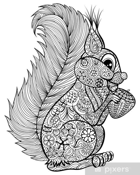 Mural De Parede Desenho Engracado Esquilo Com Porca Para Adulto