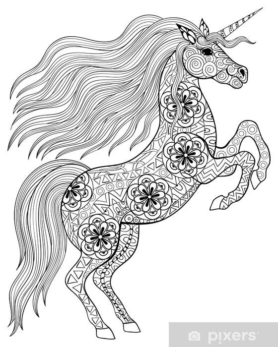 Mural De Parede Desenho Magica Unicorn Para Adulto Anti Stress