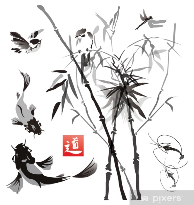 Zelfklevend Fotobehang Stencils vogels, vissen en planten in de oosterse stijl. - Grafische Bronnen