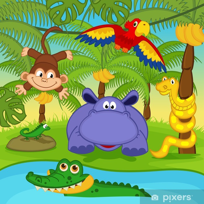 Papier Peint Animaux Dans La Jungle Illustration Vectorielle Eps