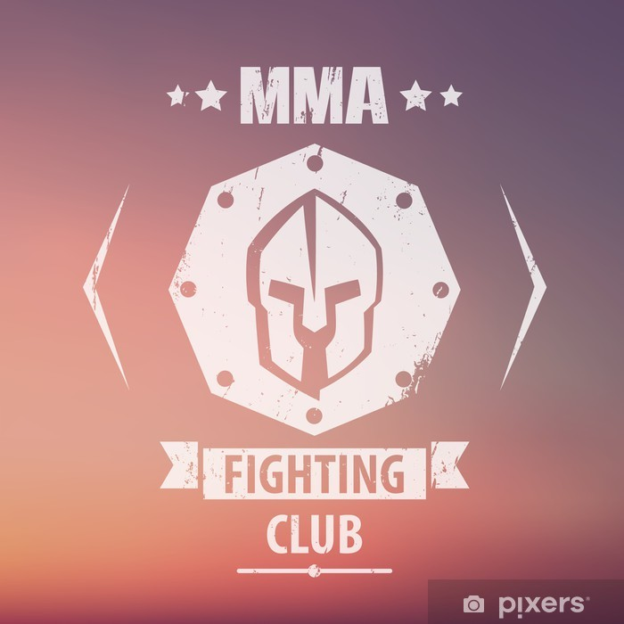 Fototapeta winylowa Klub Walki MMA grunge godło, logo, Spartan kasku, ilustracji wektorowych, eps10, łatwe do edycji - Znaki i symbole