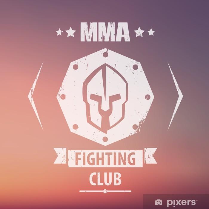 Sticker Pixerstick MMA Fighting emblème grunge Club, logo, avec un casque spartiate, illustration vectorielle, eps10, facile à modifier - Signes et symboles