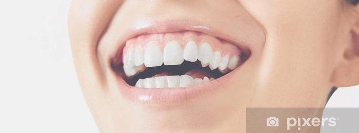 Pixerstick Sticker Sorriso Denti donna felice - Wetenschap