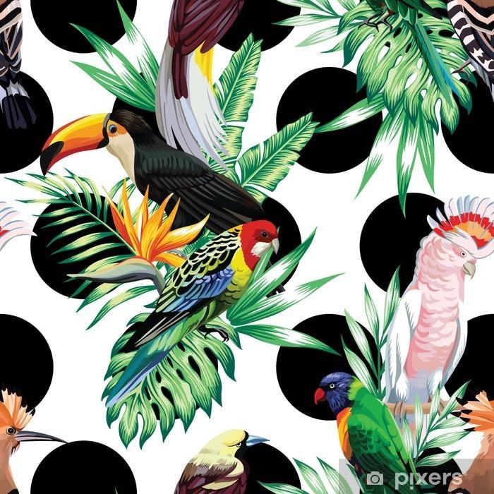 Fototapeta winylowa Tropikalnych ptaków i liści palmowych wzór - Zwierzęta