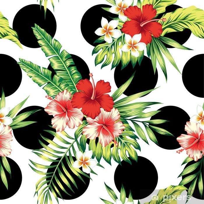 Naklejka na stolik Lack Hibiskusa i liści palmowych wzór - Rośliny i kwiaty