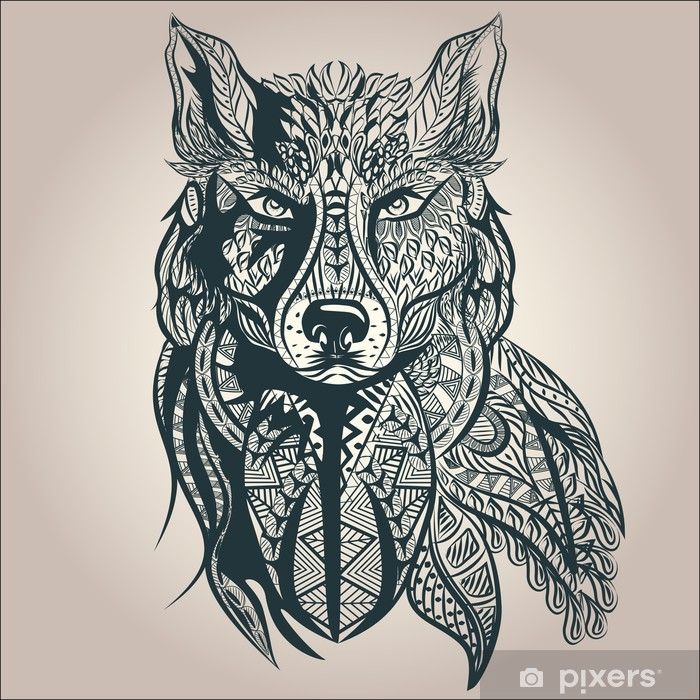Ornamental decorative wolf, predator, pattern, Isolated Pixerstick Sticker - Mammals