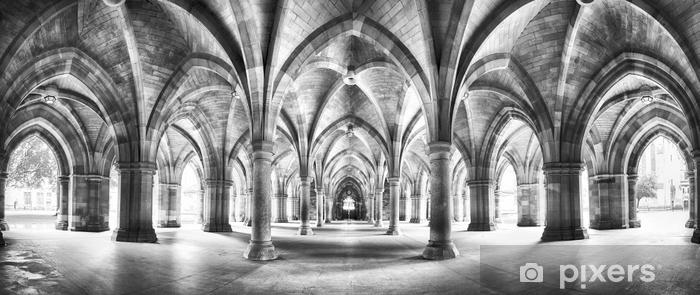 Adesivo Pixerstick Panorama del chiostro in bianco e nero - Edilizia e Architettura