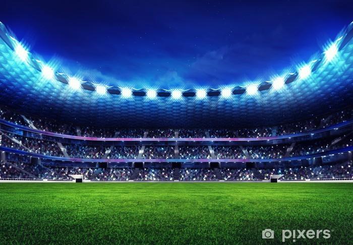 Fototapeta winylowa Nowoczesny stadion piłkarski z kibicami na trybunach - Football amerykański