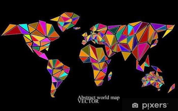 Sticker Pixerstick Résumé carte du monde de fond dans le style polygonal. Colorful - Ressources graphiques
